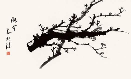 让两只喜鹊栖息在梅花枝头