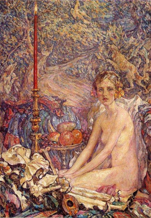 罗伯特刘易斯里德(Robert Lewis Reid)(1862年7月29日- 1929年12月2日)美国印象派画家。里德出生于马萨诸塞州的斯托克布里奇。1884年搬到纽约市,就读于纽约艺术学生联盟,1885年到巴黎在琪朱利安学院学习。同期的有古斯塔夫布朗热和儒勒约瑟夫勒费弗尔。   1889年回到纽约时,他是肖像画家,后来成为艺术学生联盟和库柏联盟的一个导师。 他大部分作品主题集中在描写青年妇女。作品非常具有装饰性,该风格使他成为著名的装饰壁画和彩色玻璃外观设计师。1897年,里德从美国艺术家协会退