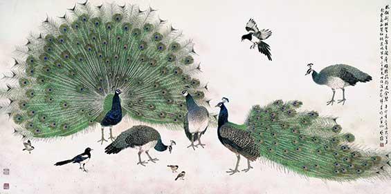 他擅花鸟,动物画,构图新颖,笔墨精到,意趣盎然,既具有传统笔墨韵味,又