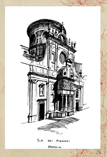 黑白建筑画手绘