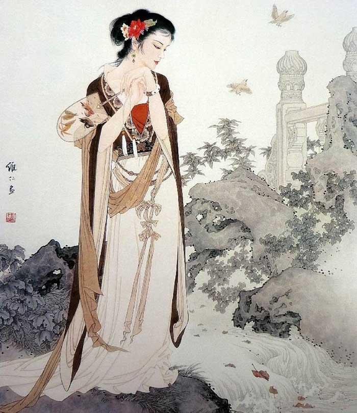 美女为肌玉为骨中国画中的古代冰雪美女v美女教英语图片