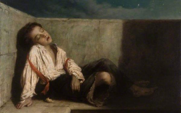 伦敦桥上的休息,Augustus Edwin Mulready, 1879