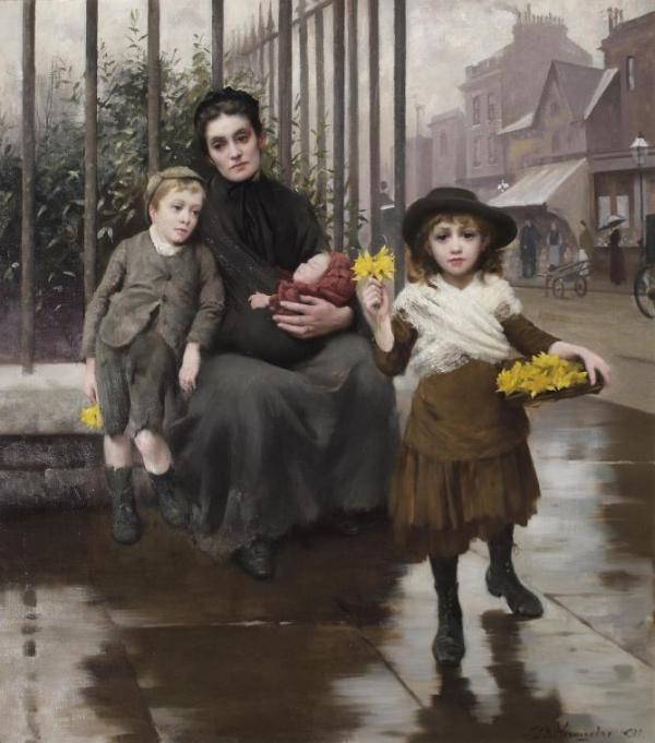 贫困的日子 Thomas Benjamin Kennington, 1891