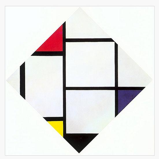 画面把一个正方形按菱形的样式放置,通过长短不同的水平线和竖直线把