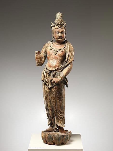 彩绘木雕观音菩萨像(柳木胎)