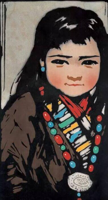 藏族姑娘彩色简笔画