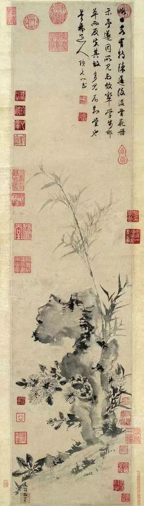 项元汴《竹菊图》轴(传为张学良旧藏 ,图片来源于网络)