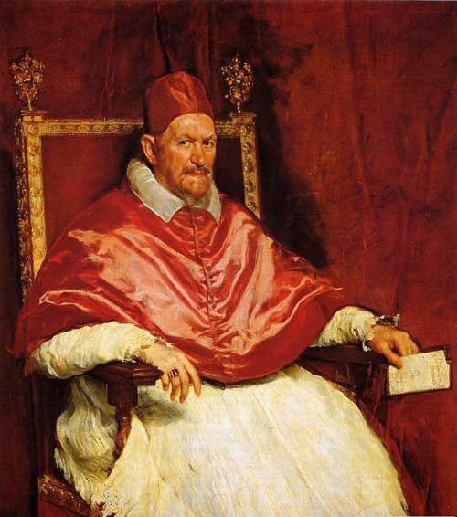 西班牙油画大师委拉斯贵支的作品《教皇英诺森十世》.