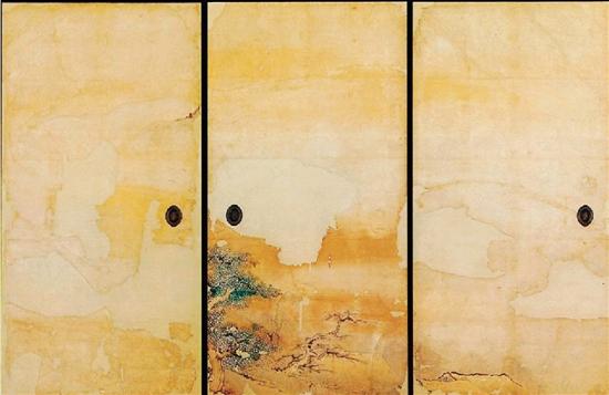 日本名古屋城堡上黑木书院日式拉门绘画《山水图》三联屏