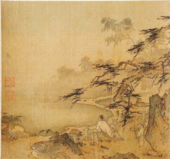 美国克利夫兰艺术博物馆藏 宋代马远册页《松溪观鹿图》