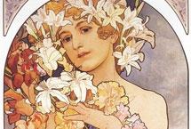 """穆夏创作的""""仙女般""""的美女海报绘画&#13;穆夏是20世纪初叶巴黎流行的""""新艺术""""的代表画家,穆夏的绘画,在富有华丽装饰美的甜俗优雅的表象里,<a href="""