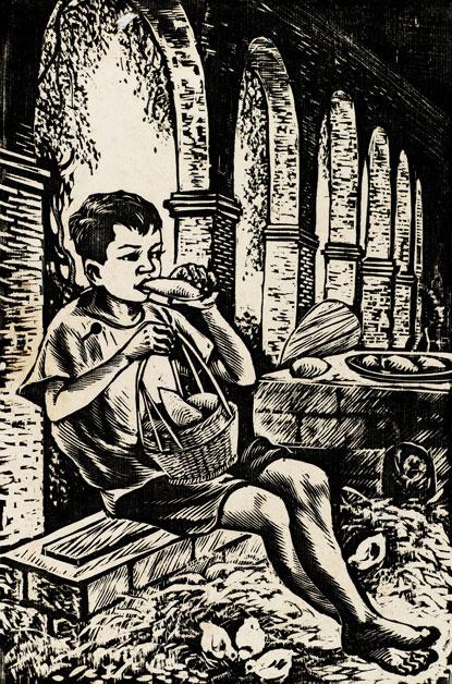 吃自己的勞動果實作者:羅映球創作年代:1960規格:23.5×15.5cm材質:油印黑白木刻