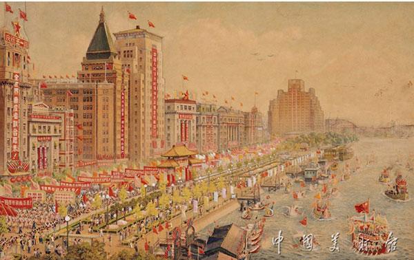 """""""五一""""節在上海外灘作者:陳飛創作年代:1977規格:130×249cmcm"""