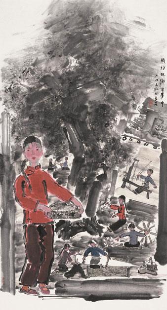 織訪故鄉留夢中作者:張立柱創作年代:2004規格:178×96cm材質:紙本設色中國畫