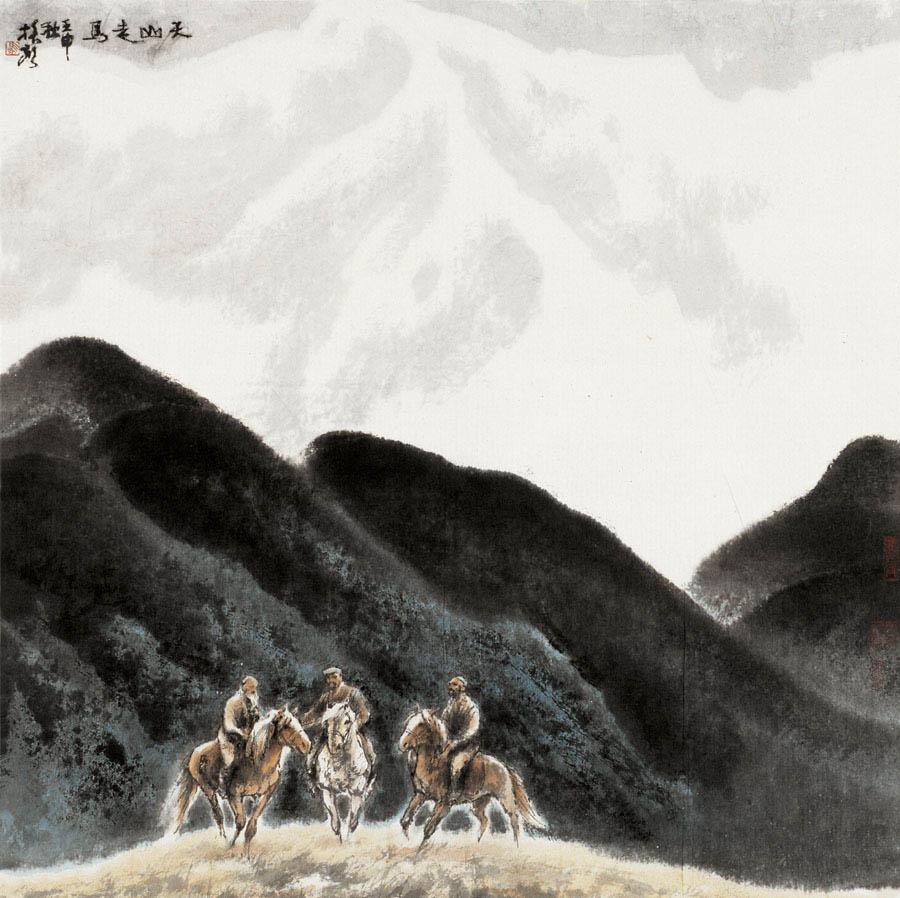 《天山走马》 100x100cm 1992年
