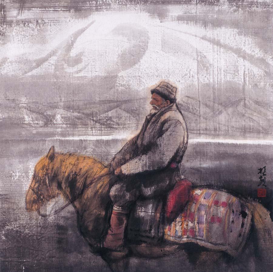 《昆仑牧人》 100x100cm 1993年
