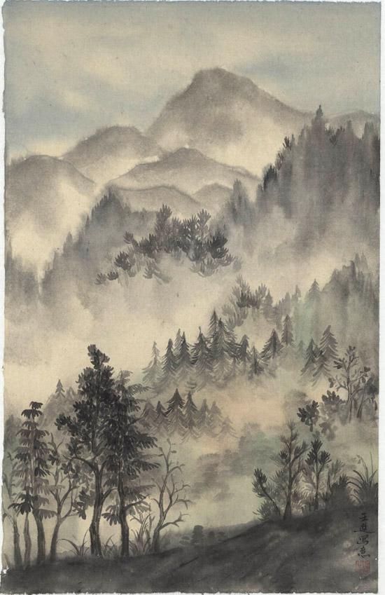 清风林影,纸本水墨,2016年,50cm×75cm