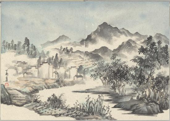 江村小景,纸本水墨,2017年,60cm×45cm