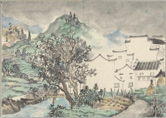 秋口桃园写生,纸本水墨,2017年,60cm×45cm - 复件