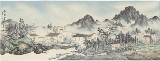 山村雨意,纸本水墨,2016年,140cm×50cm