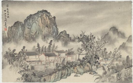 山村幽旷,纸本水墨,2016年,75cm×50cm