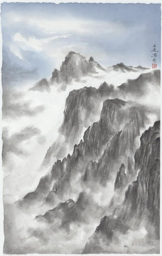 远峰(五),纸本水墨,2016年,50cm×75cm