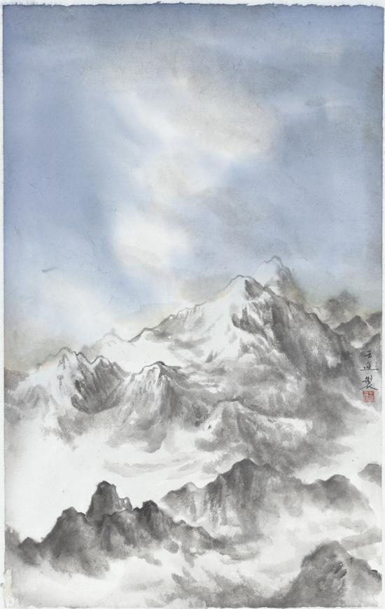 远峰(一),纸本水墨,2016年,50cm×75cm