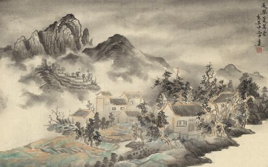 云秀其中,纸本水墨,2016年,75cm×50cm