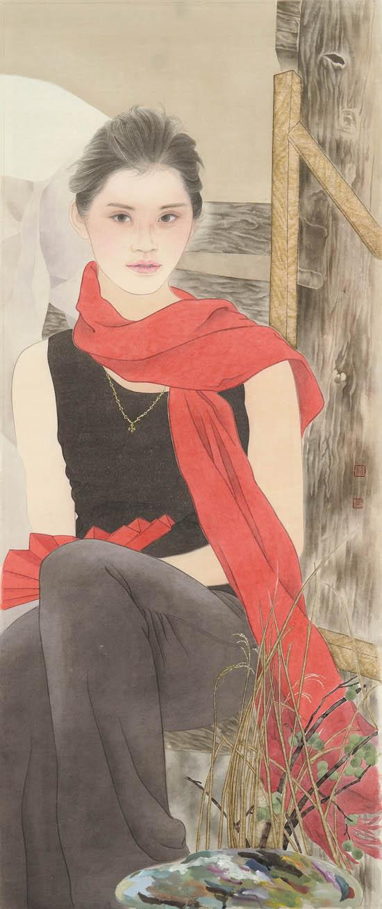 芳香之旅系列—铁凝的红围巾 114×46cm  2013年