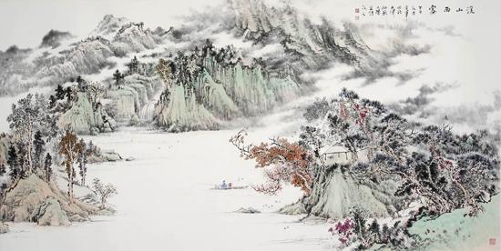 姜金军2014 溪山雨霁120×60cm