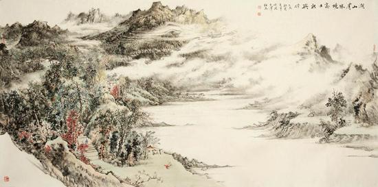 姜金军2015 湖山有胜景 高士相与行120×60cm