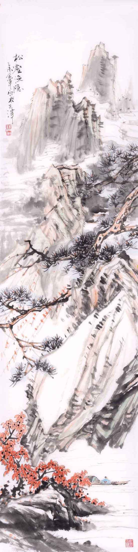 姜金军2015 松壑渔隐30×120cm