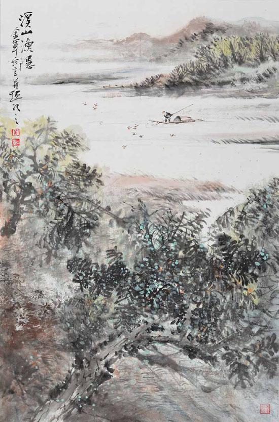 姜金军2016溪山渔隐60×120cm