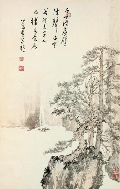 溥儒 白云溪声图 , 美国大都会艺术博物馆藏