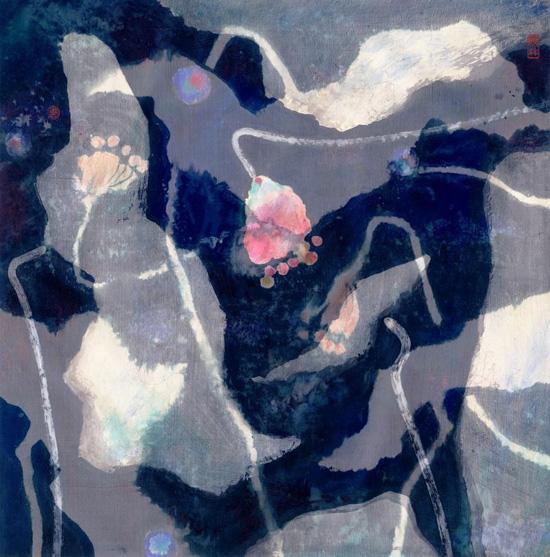 穆益林《荷塘印象NO.12 清辉》66×67cm 帛画 1999年