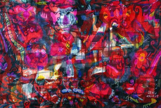 穆益林《闹元宵》(65×97cm)帛画 1996年