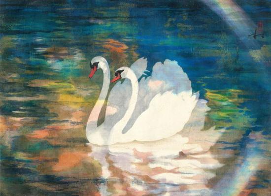 穆益林《丝路风情卷三 孔雀河的春天》 帛画 49.1×67.6cm 2012年