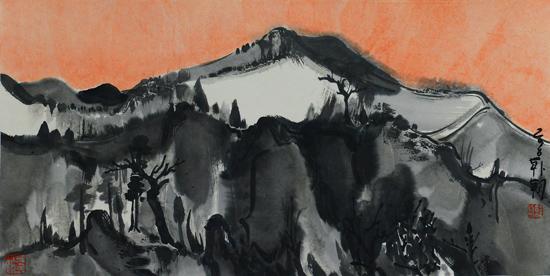 夜山之12,34x68cm,纸本设色,2016年