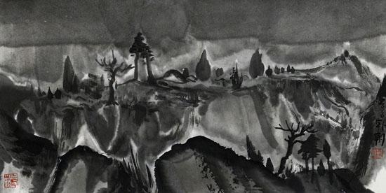 夜山之13,34x68cm,纸本水墨,2016年