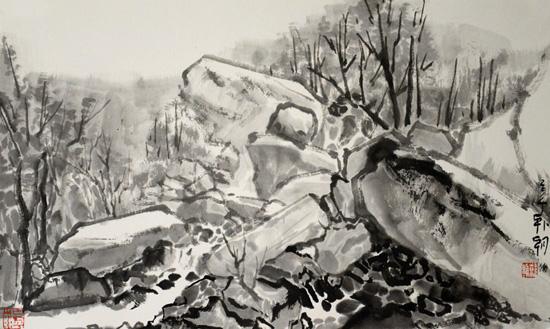 赤崖堡写生之8,39x65cm,纸本水墨,2014