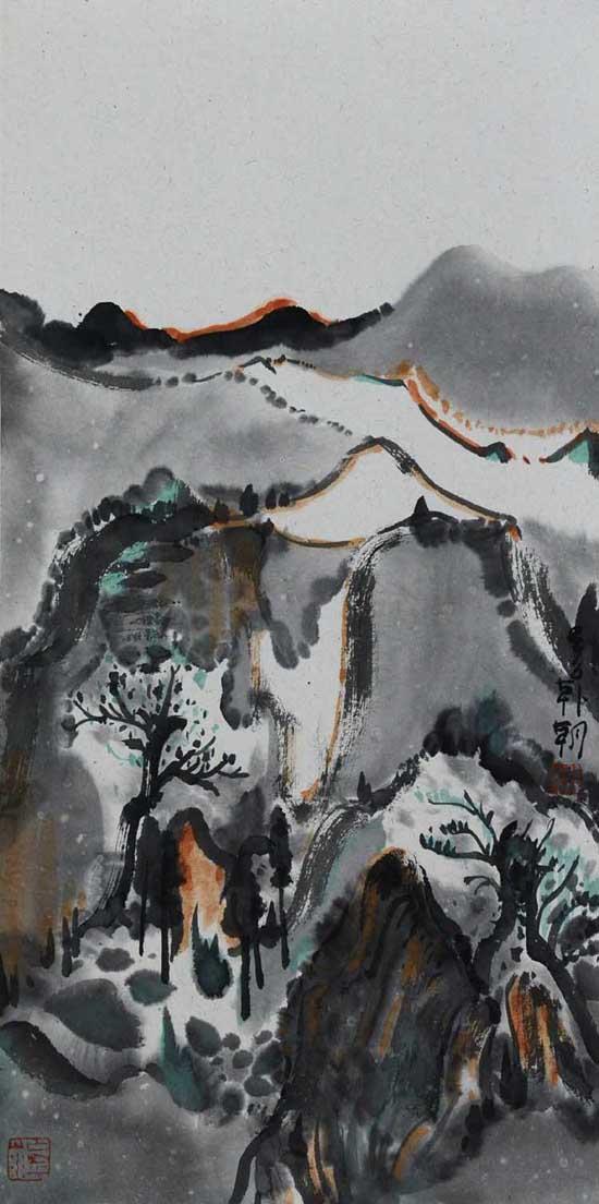 无名山系列之3,68x34cm,纸本设色,2016年