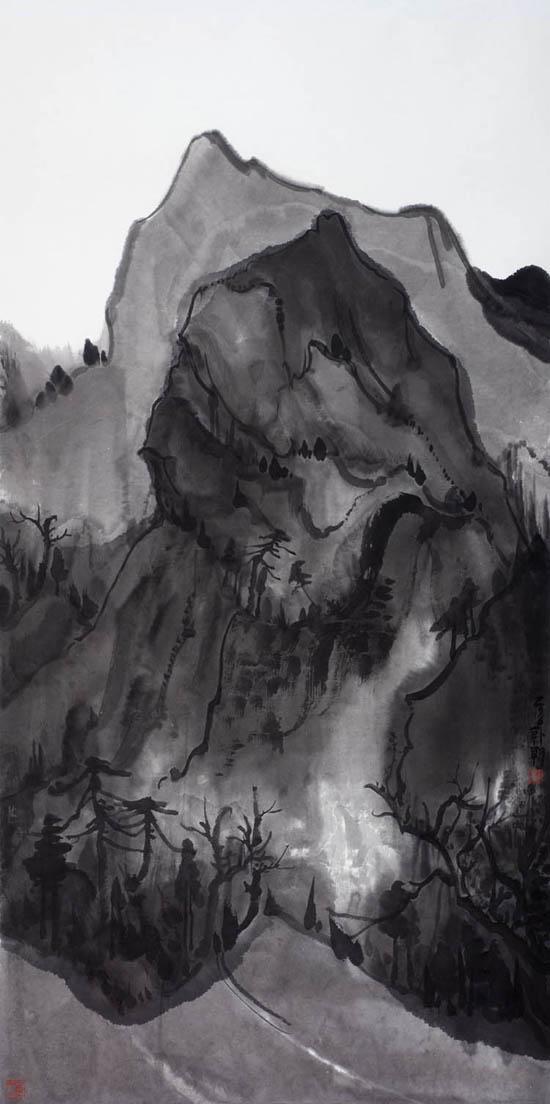 夜山系列之壁立,136x68cm,纸本水墨,2016年