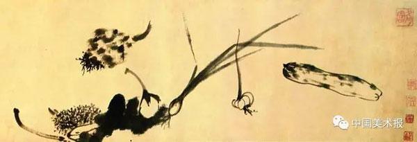 八大山人? 蔬果图卷(局部)? 纸本墨笔? 28cm×206.5cm? 1699年? 故宫博物院藏