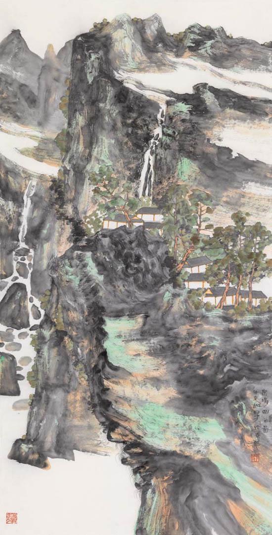 鸣泉幽谷 69x138cm   2016年