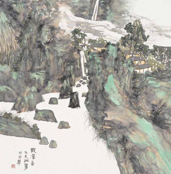 观瀑图 68X68cm