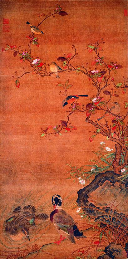 在传统绘画题材中,双宿双栖的鸟儿们是画家笔下常见的题材