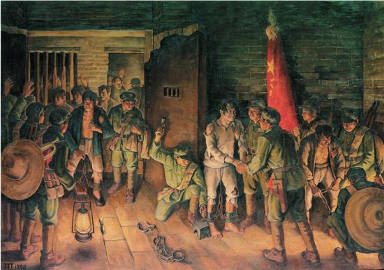 胡一川 开镣 油画 174×264cm 1950年 中国国家博物馆藏