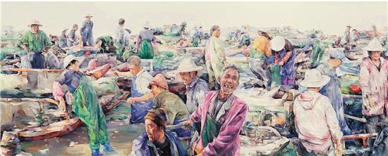 林贤 赶海归来(局部) 水彩画 150×1000cm 2016年