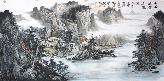 安茂水中国山水画作品欣赏