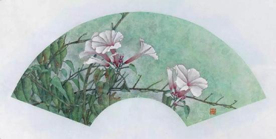 扇面 花卉写生 工笔 16cmx46cm   2016年